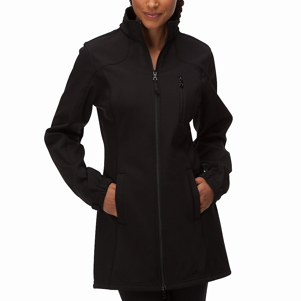 venture long bonded jacket in black
