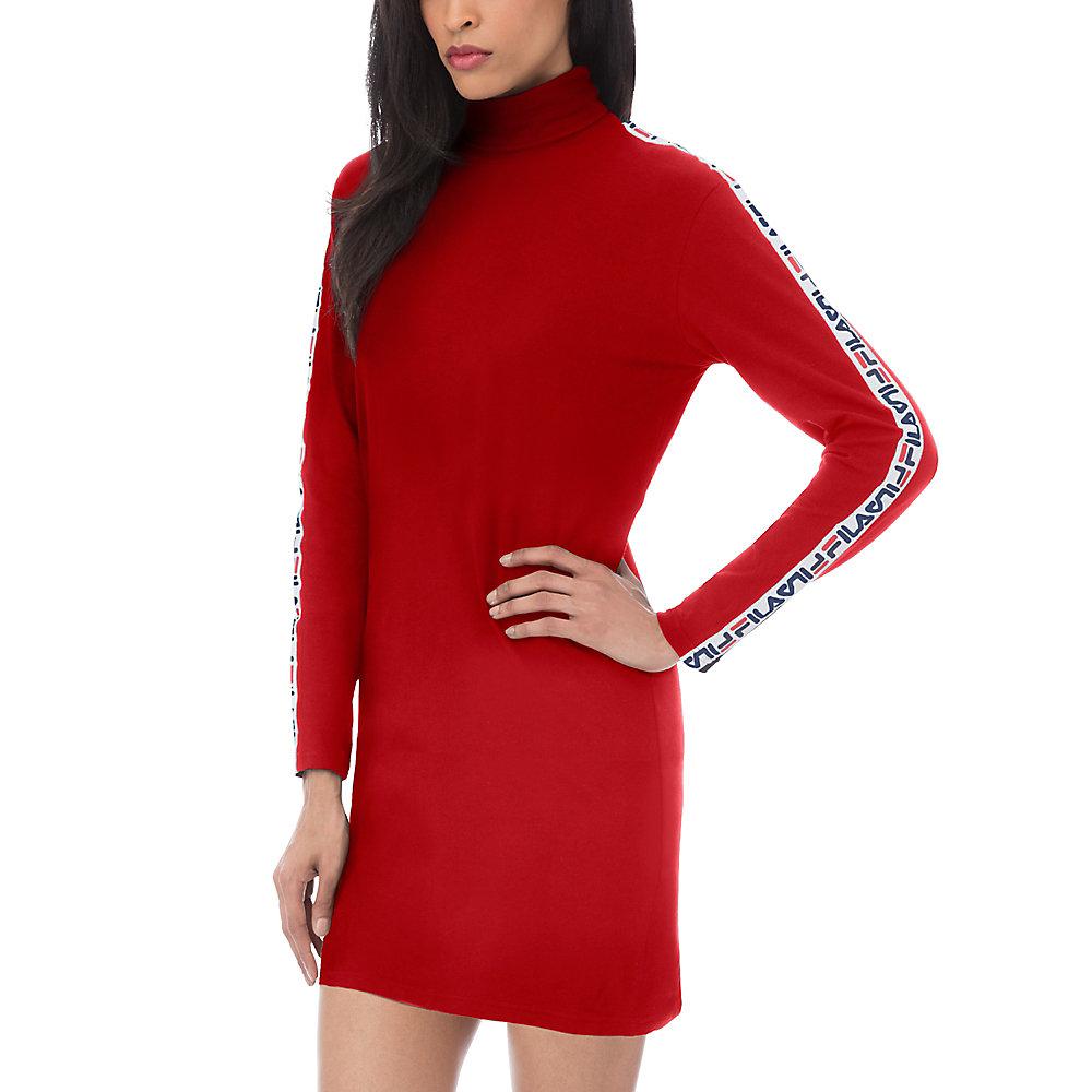 sara turtleneck dress in red