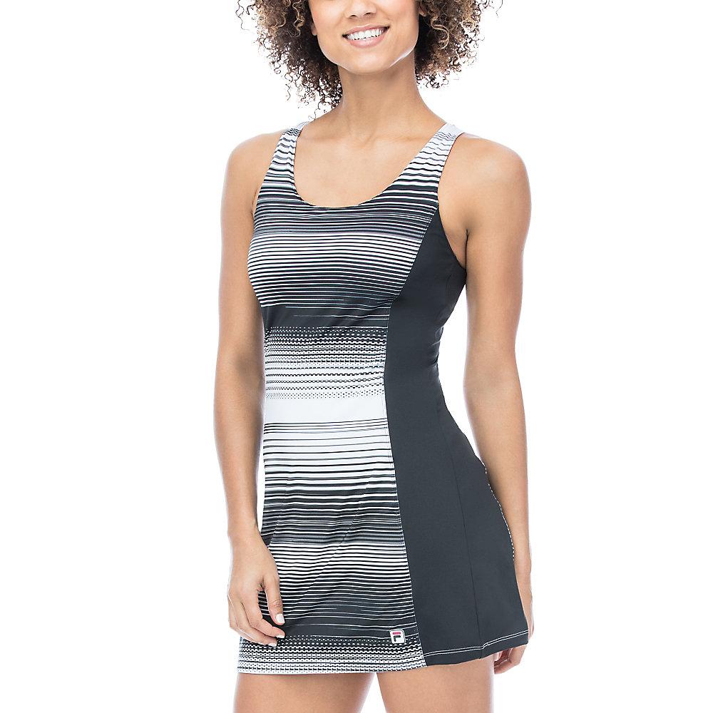 heritage stripe dress in black
